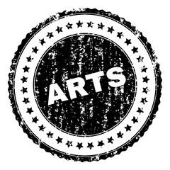 ARTS stamp seal watermark with distress style. Black vector rubber print of ARTS title with retro texture. Rubber seal imitation has round shape and contains stars.