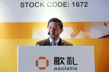 Ascletis Pharma Inc. Chairman and CEO Jinzi J. Wu attends a news conference on the IPO of the company in Hong Kong