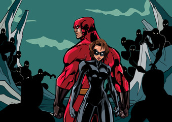 Illustration of superhero couple standing against evil minions.