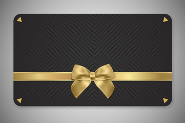 Gift card (Gift card discount), Gift coupon with golden ribbon, gold bow and black pattern. Black background design (dark) for voucher template design, invitation, ticket. Vector