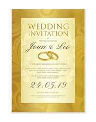 Wedding invitation design template (Save the date card). Classic Golden background with gold wedding rings useful for any Invitations,  marriage, anniversary, engagement part