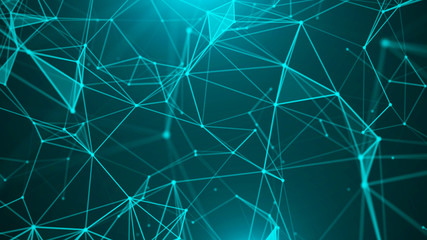 Abstract digital background. Big data visualization. Network connection structure. Science background. 3D rendering. Fototapete