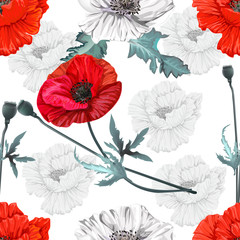 Poppy flowers seamless,Floral pattern on white and silhouette background