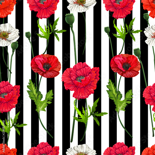 Poppy Flowers Seamlessfloral Pattern On White And Black Stripe