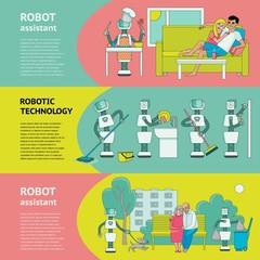 Flat fuman robots in modern life banner set. Bot working at home, support with household chores, walking with dog. Data science innovation, artificial intelligence machine learning Vector illustration