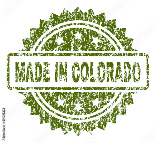 MADE IN COLORADO Stamp Seal Watermark With Rubber Print Style Green Vector Of