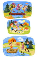 Kids summer camping vector cartoon illustration. Children with backpacks on outdoor hiking adventure at tent and campfire for picnic, fishing at lake or walking through forest. Colorful banners design