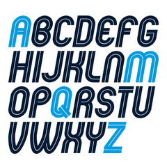 Set of vector rounded bold capital alphabet letters made with white lines, can be used in poster creation for social or commercial announcement
