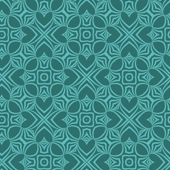 Seamless geometric pattern with floral abstract decoration. Vector illustration