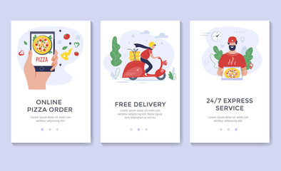 Pizza delivery banner, mobile app templates, concept vector illustration flat design