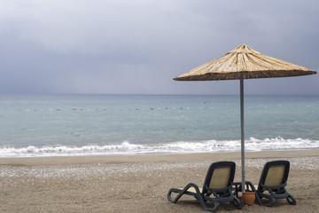 Leisure on beach under umbrella