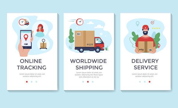Delivery service banner, mobile app templates, concept vector illustration flat design