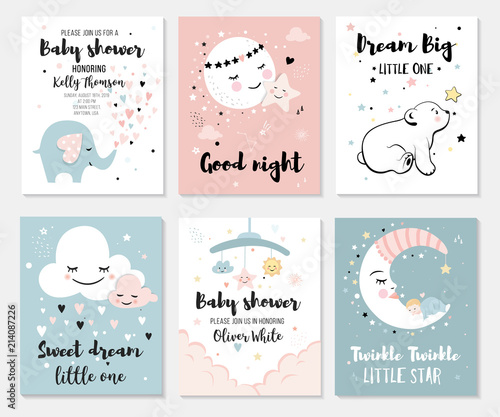Little bear elephant moon and star cute characters set posters little bear elephant moon and star cute characters set posters for baby m4hsunfo