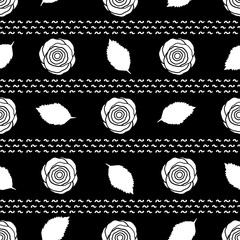 Seamless pattern with white roses and leaves on the black background.