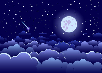 Night landscape. Sky and stars, where a comet flies and the full moon glows, an illustration of a dark blue color