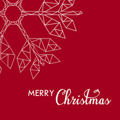 Weihnachtskarte mit einem Eiskristall und der Schrift Merry Christmas