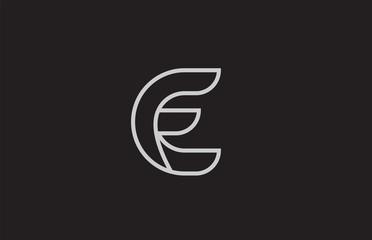 black and white alphabet letter e logo icon design