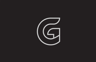 black and white alphabet letter g logo icon design