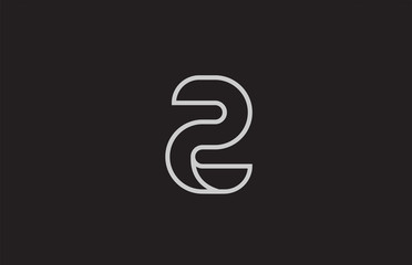 black and white number 2 two logo icon design