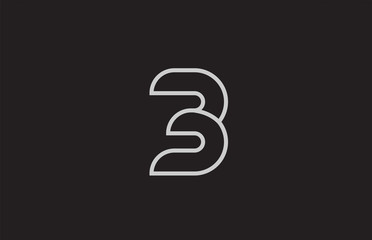 black and white number 3 logo icon design