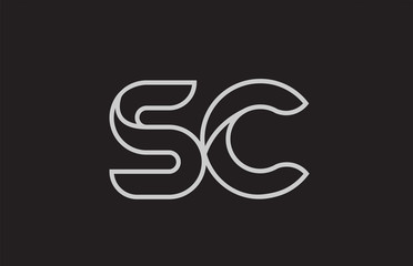 black and white alphabet letter sc s c logo combination
