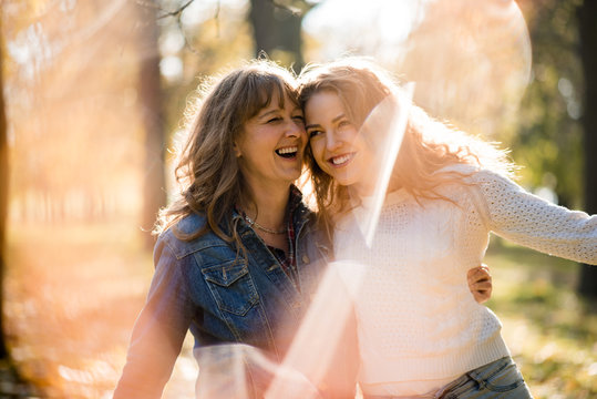 Senior woman enjoys time with daughter