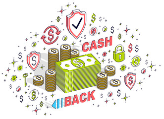 Cash Back concept, cash money dollar stacks and cent coins piles with lettering isolated on white. Isometric 3d vector finance and business illustration with icons, stats charts and design elements.