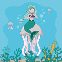 Beautiful and magic mermaid cartoon