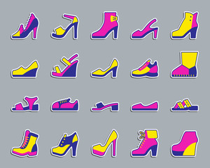 Shoes patch sticker icons vector set