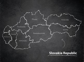 Slovakia Republic map separate region individual names blackboard chalkboard vector