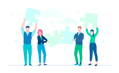 Business team doing a puzzle - flat design style colorful illustration