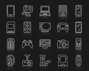 Device simple white line icons vector set