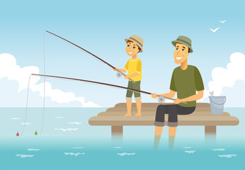 Father and son fishing - cartoon people characters illustration
