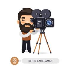 Retro Cameraman Flat Cartoon Character