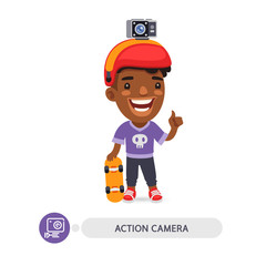 Flat Cartoon Character with Action Camera