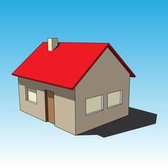 3D image - simple colored isolated house