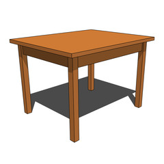 3D image - simple brown isolated desk illustration
