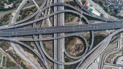 Aerial view of railway, highway and overpass on Middle Huaxia road, Shanghai