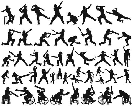 Vector silhouette collection of people children man woman and disabled playing cricket