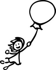 Female manikin flying with a balloon