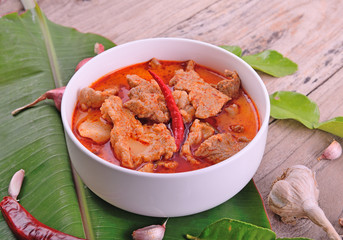 red curry on wooden background