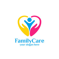family care logo template. Love care logo template