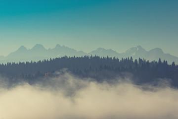 Tatra mountains in dense fog
