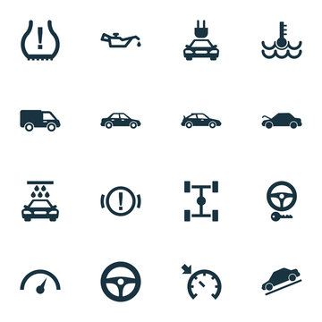 Auto icons set with lorry, oil pressure low, steering wheel and other drive control  elements. Isolated vector illustration auto icons.