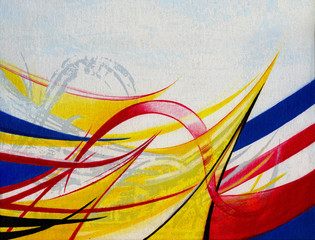 Art Design Abstract background  Hand color painting on canvas.