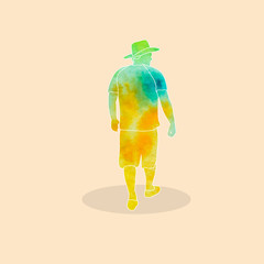 Wall Mural - vector, isolated, watercolor silhouette man