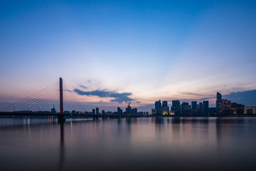 panoramic city skyline in hangzhou china