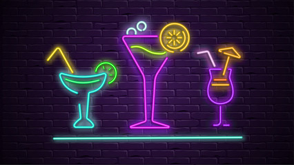 Colorful neon cocktails decoration on purple bricklaying wall background.