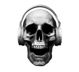 skull with headphones isolated in black background 3d illustration