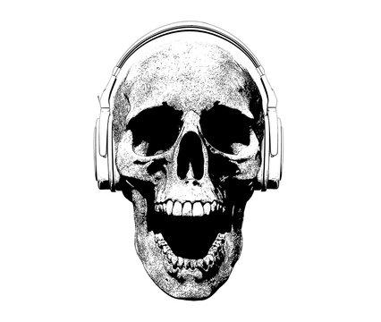 Skull with headphones Screaming Illustration Background